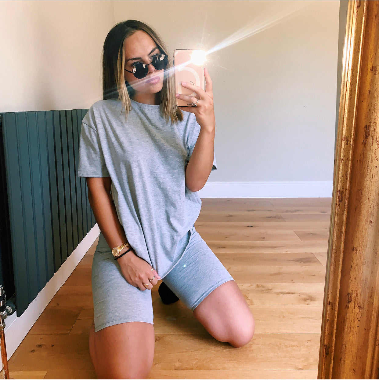 Grey Cycling Shorts Two Piece