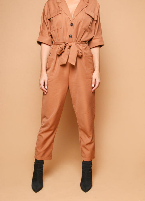 Camel Jumpsuit with Tie Up Belt