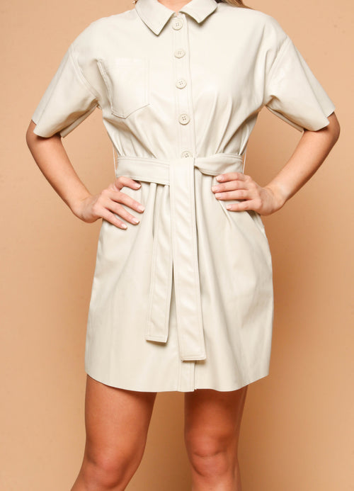 Beige Leather Belted Dress