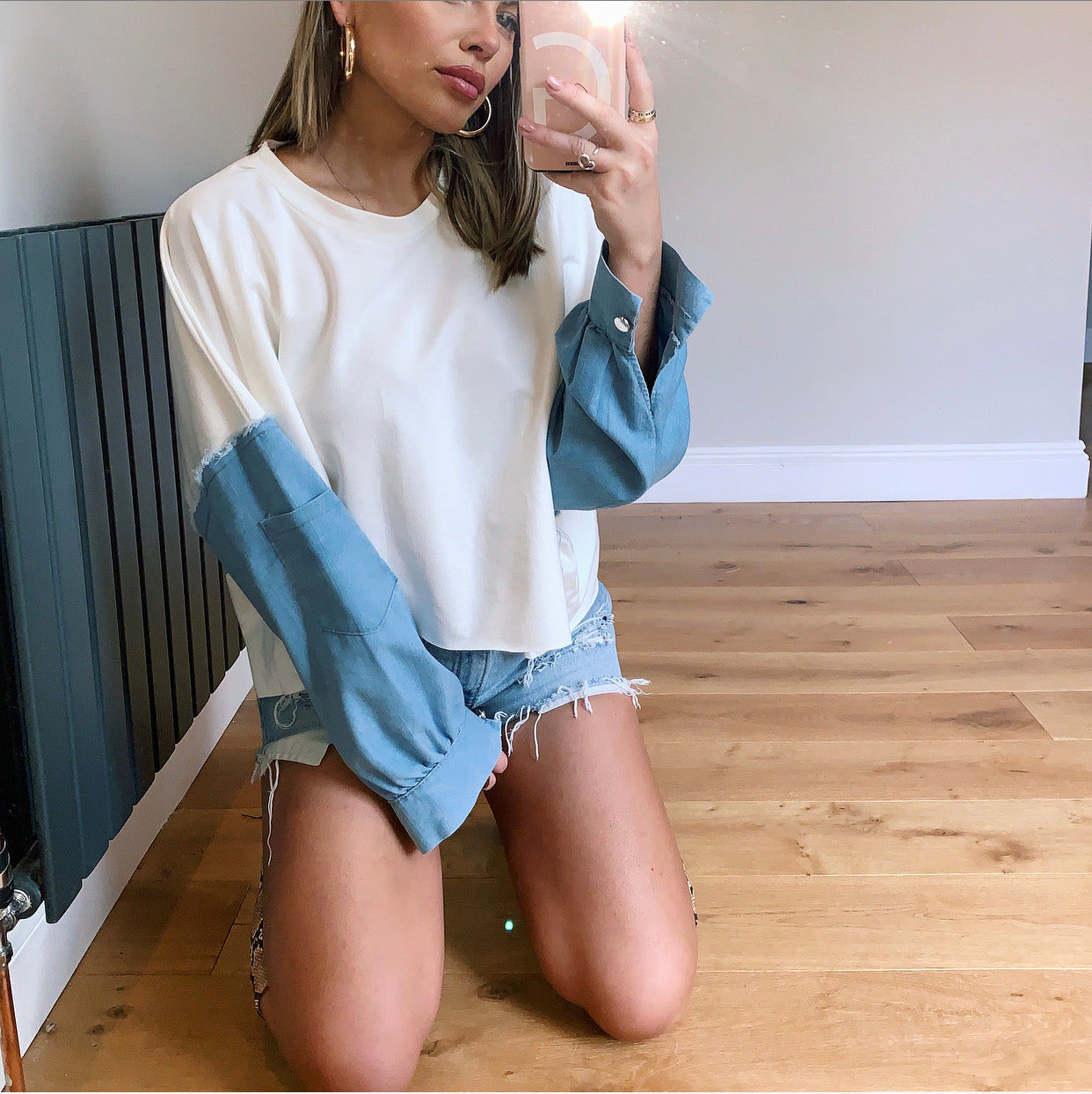 Oversized Denim Two Tone Sweatshirt