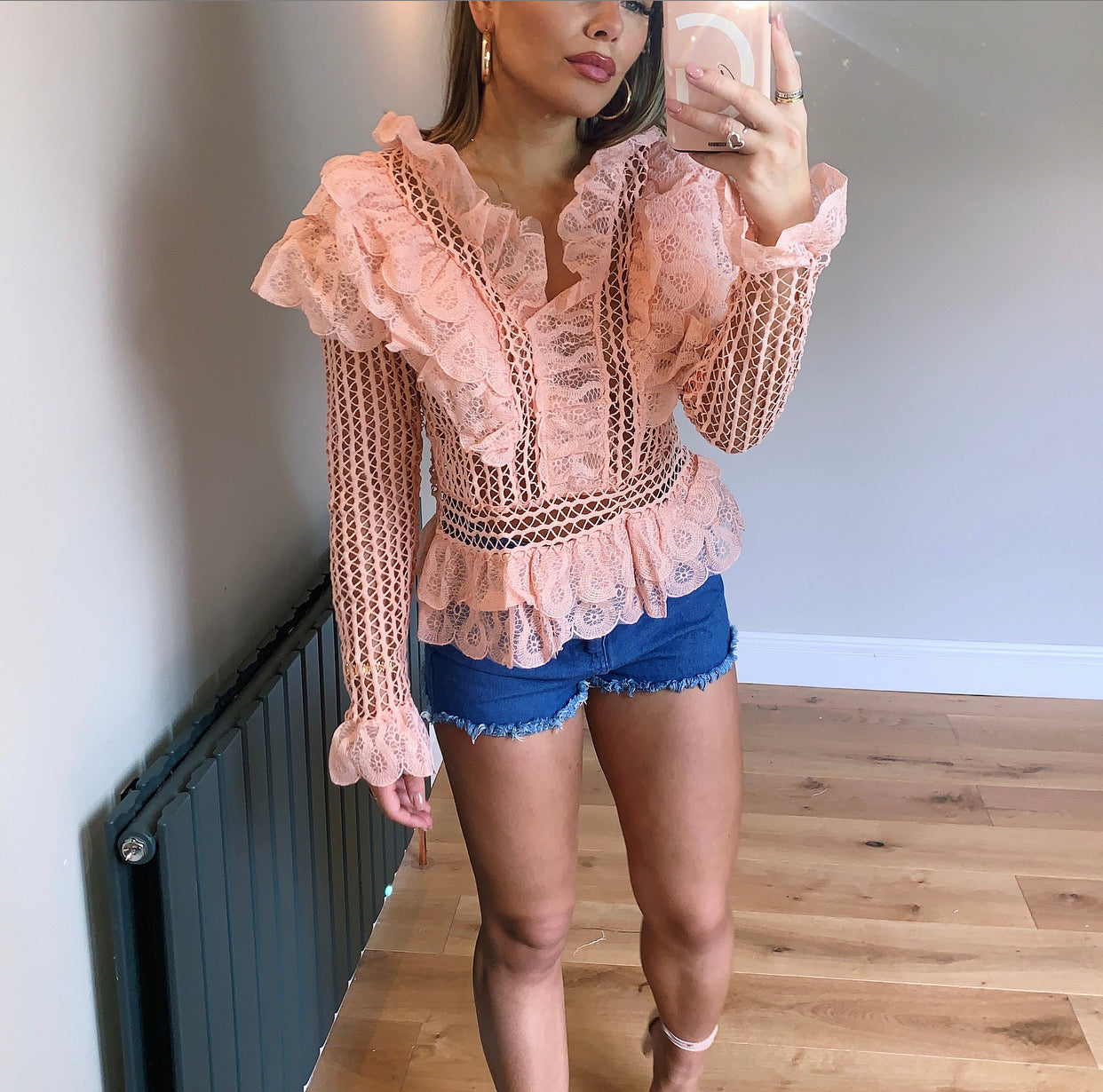 Pink Mesh Ruffle Detailed Blouse