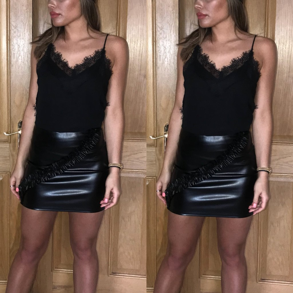 Black Leather Look Skirt, Ruched Detail, Ruffle Detail, Mini Skirt