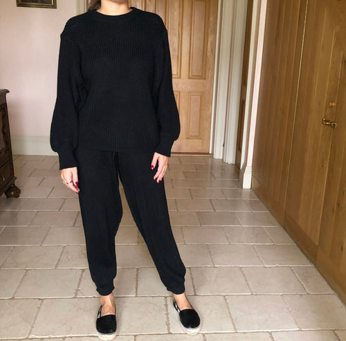 Black Cable Knit Loungewear Set