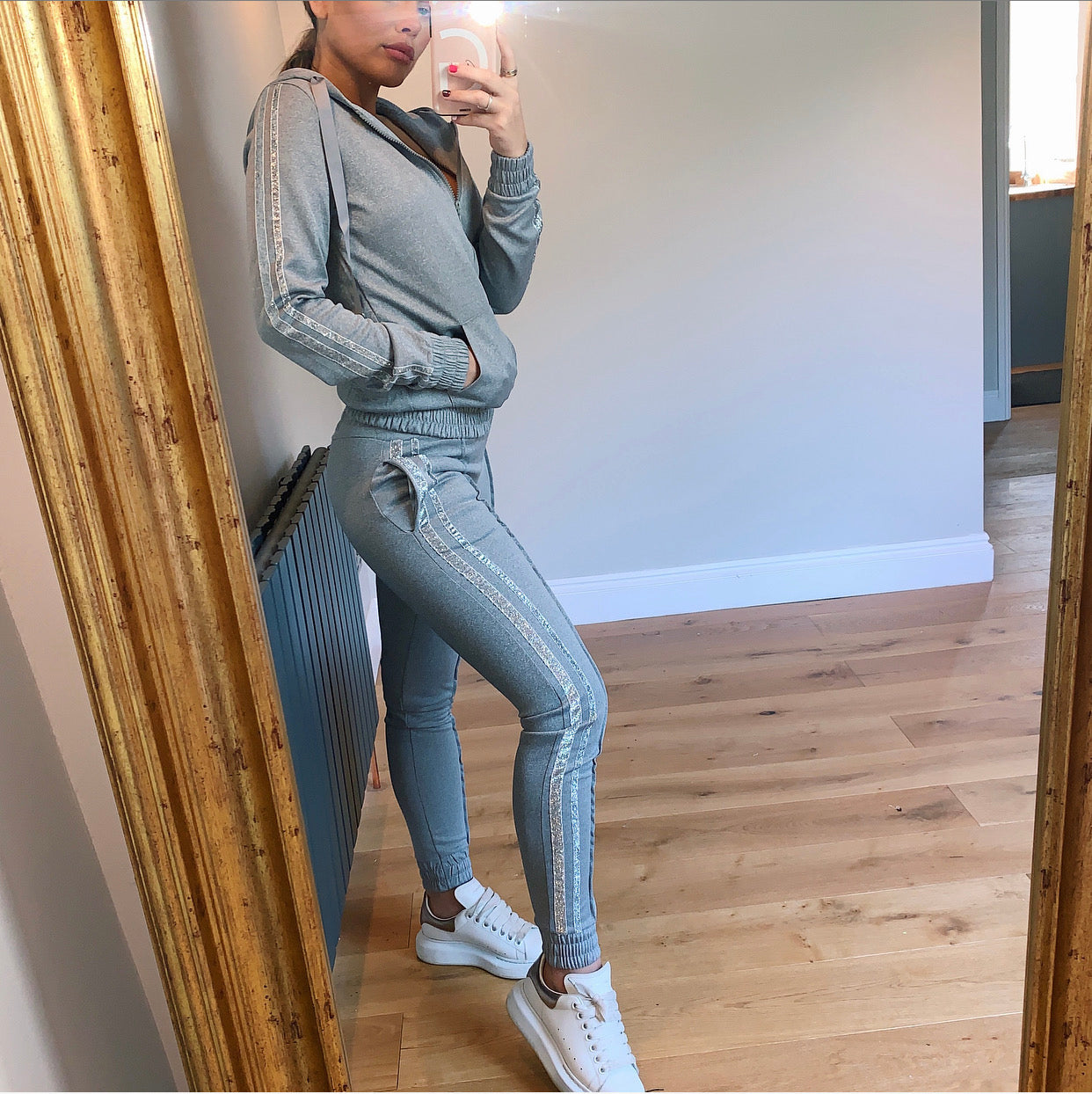 Grey Hoodie Tracksuit With Glittery Stripe