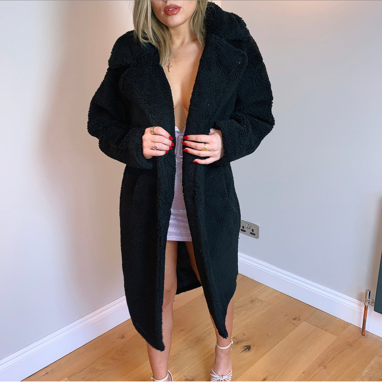 Black Long Teddy Coat