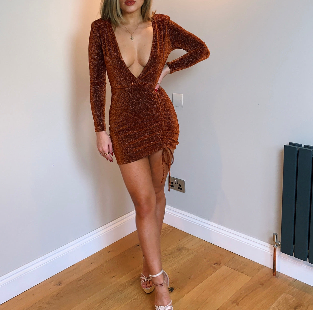 Orange Glitter Plunge Mini Dress