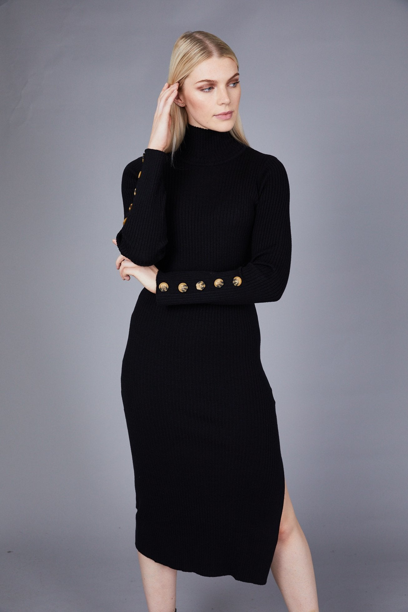 Black Knitted High Neck Side Split Midi Dress