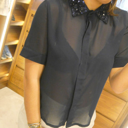 Navy mesh shirt, slightly cropped.  Embellished collar