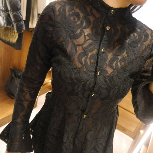 Bell Sleeved Black Lace Two-Piece