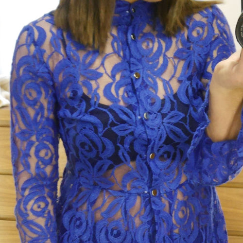 Bell Sleeved Royal Blue Lace Two-Piece