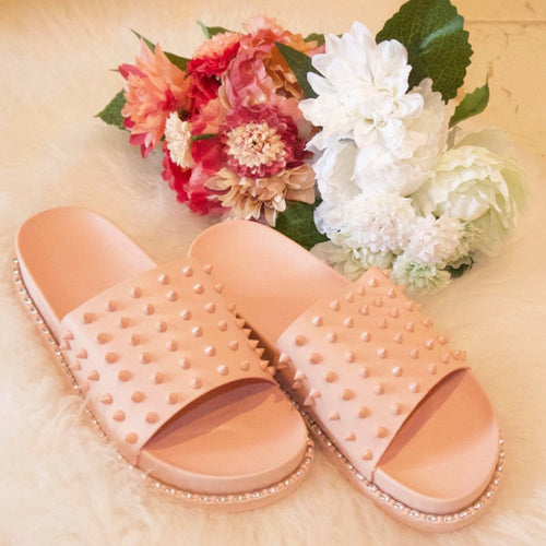Women's baby pink studded sliders, holiday spiked sandals