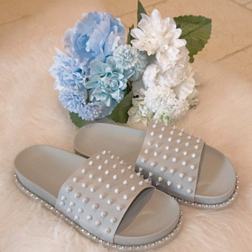 Women's grey studded sliders, holiday spiked sandals
