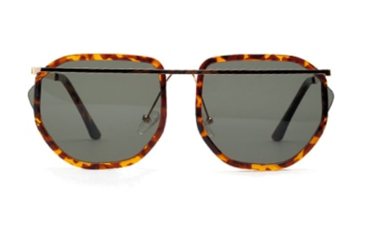 Oversized Brown Tort Sunglasses With Gold Detailing