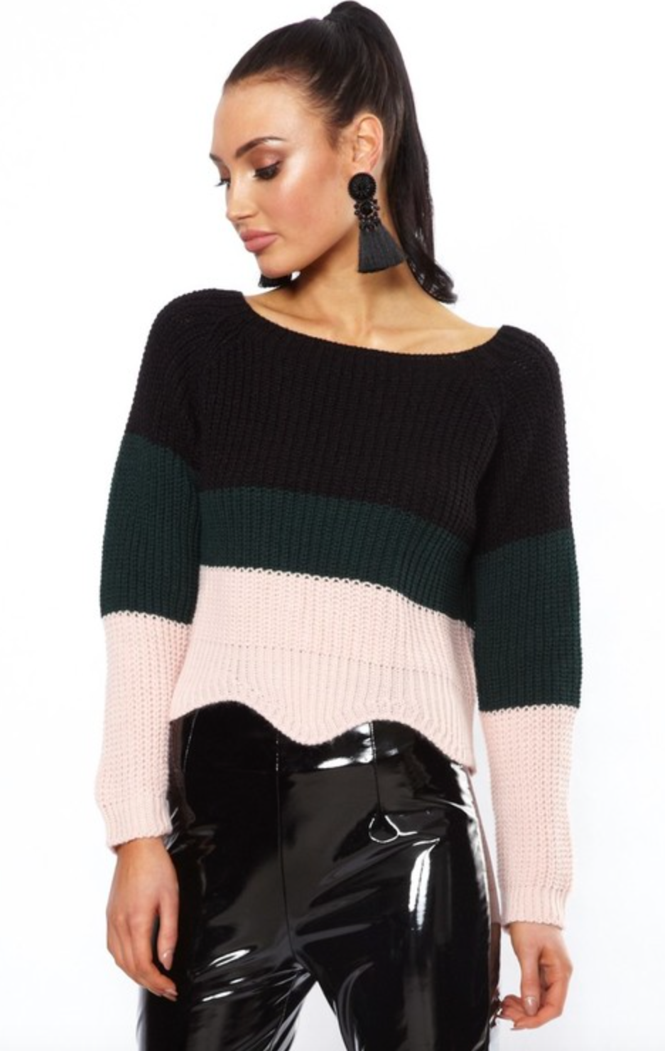 Striped knitted cropped jumper