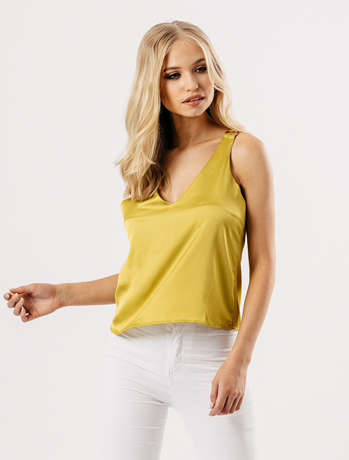 Yellow Satin Cami Top
