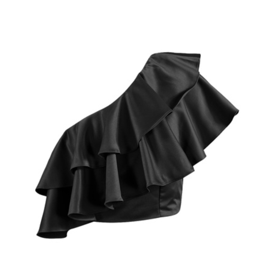 Black One Shoulder Ruffle Crop Top
