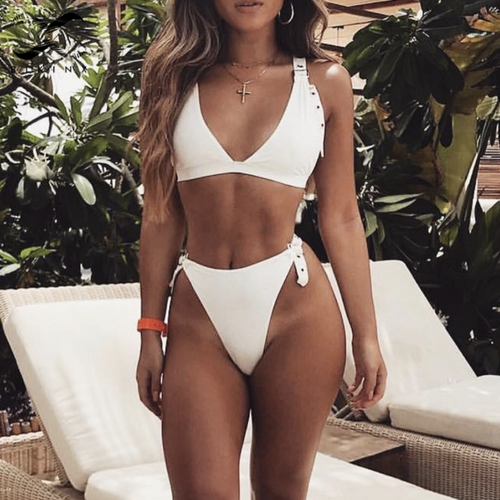 White Buckle Up Bikini
