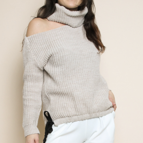 Chunky Cream Roll Neck Cut Out Jumper
