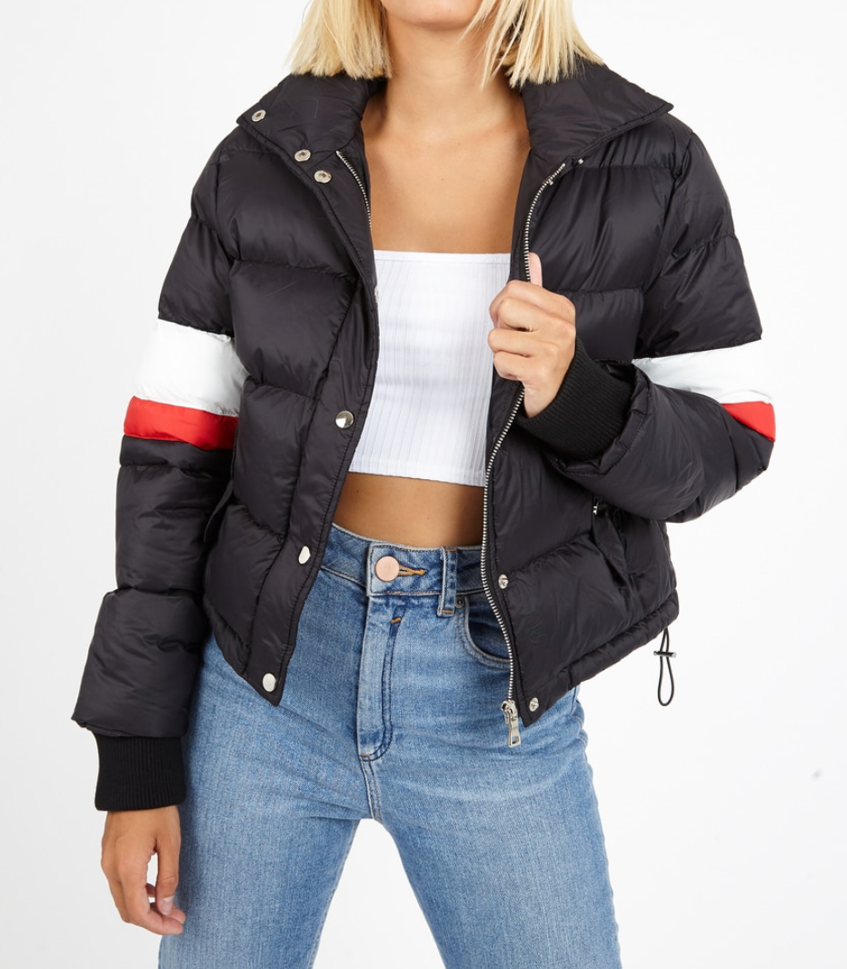 Black Puffer Jacket With Stripe Detailing
