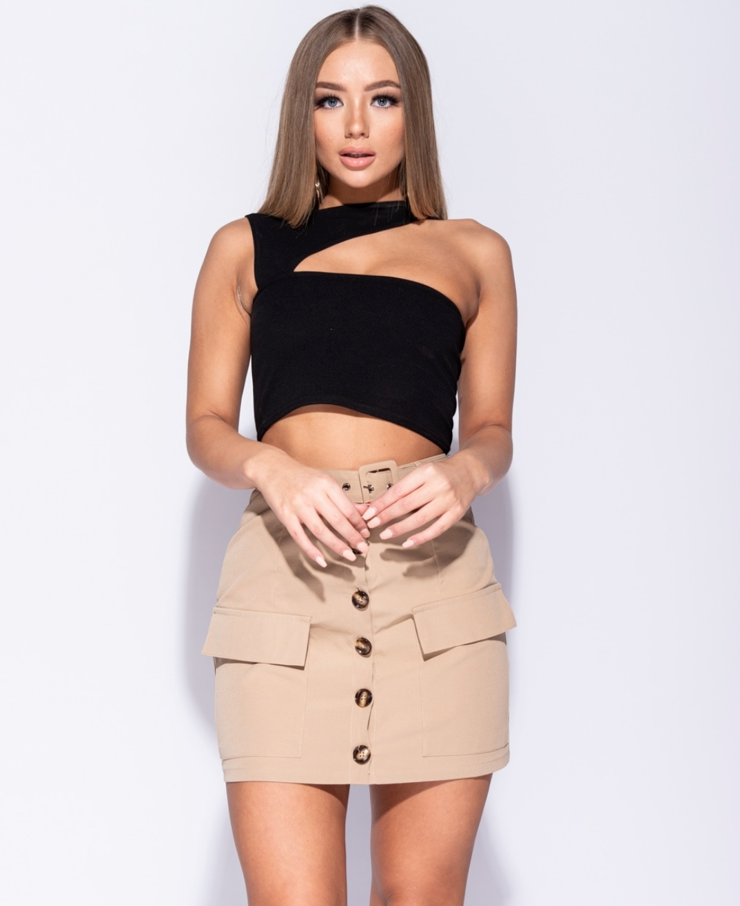 Camel Button Up Mini Skirt