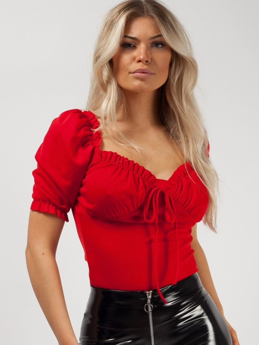 Red Ruched Frill Top