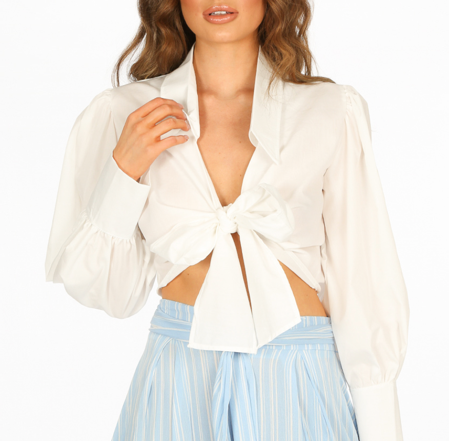White Cropped Shirt With Tie Up Detail