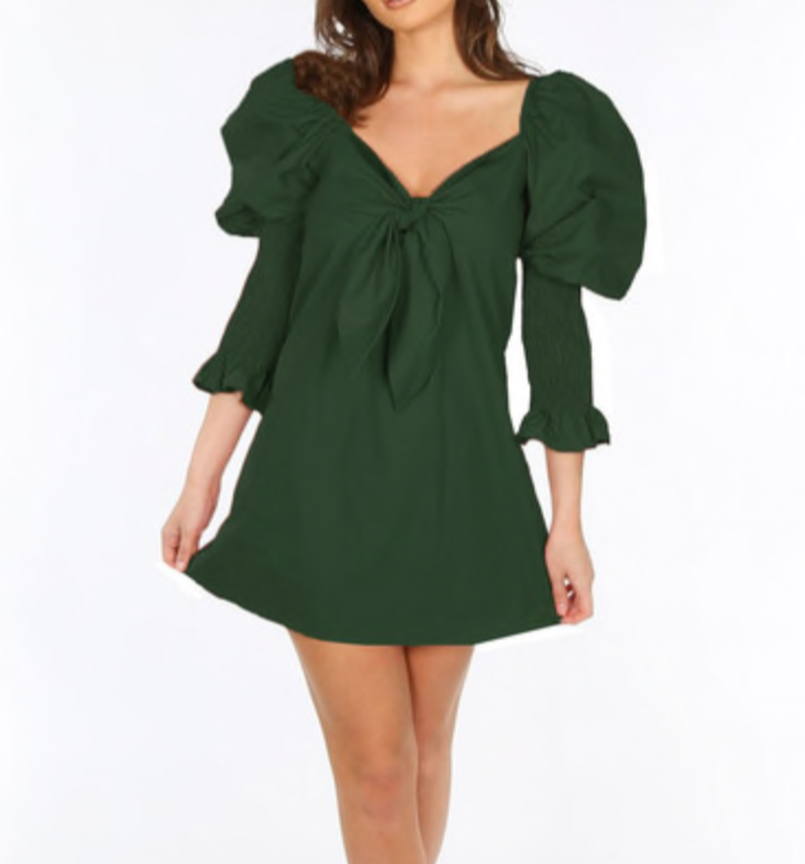 Green Puff Sleeve Tie Up Dress