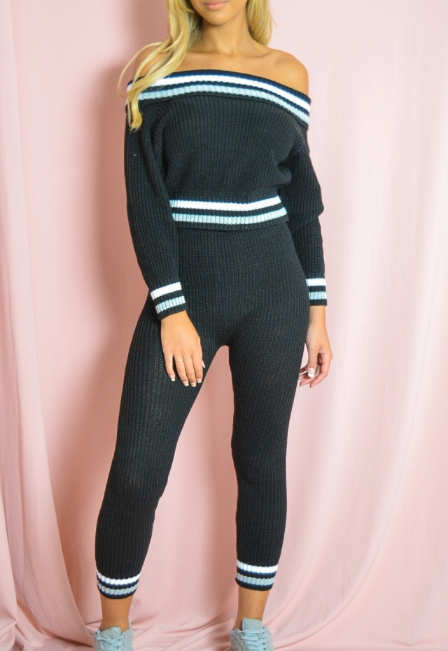 Black Knitted Bardot Two Piece Set