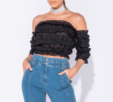 Black Frill Detail Blouse