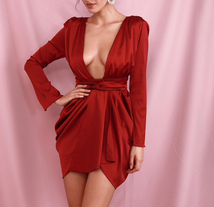 Red Deep Plunge Dress