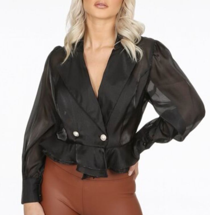 Black Pearl Button Blouse