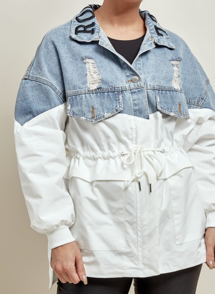 Denim & White Drawstring Jacket