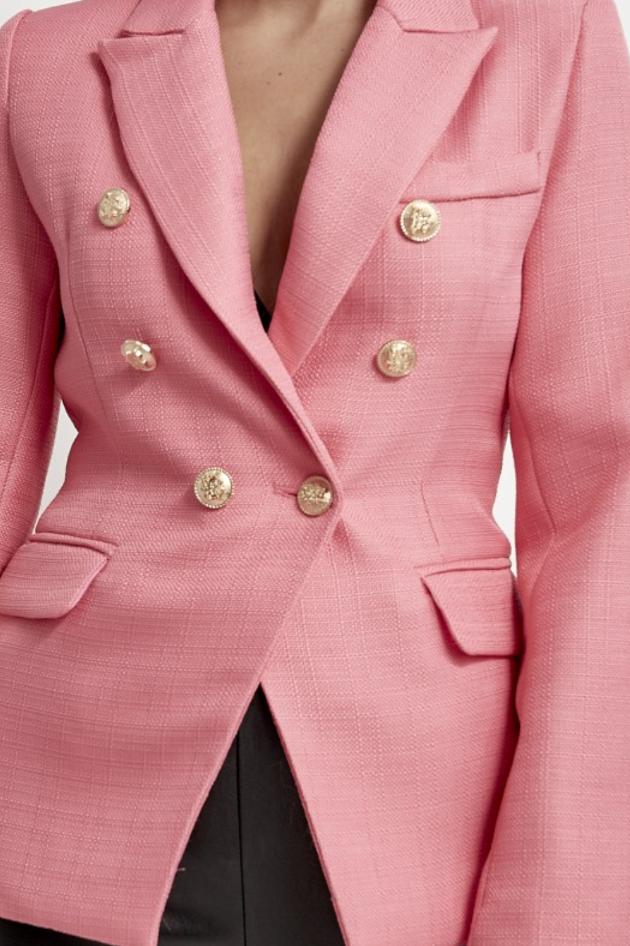 Hot Pink Blazer With Gold Button Detail