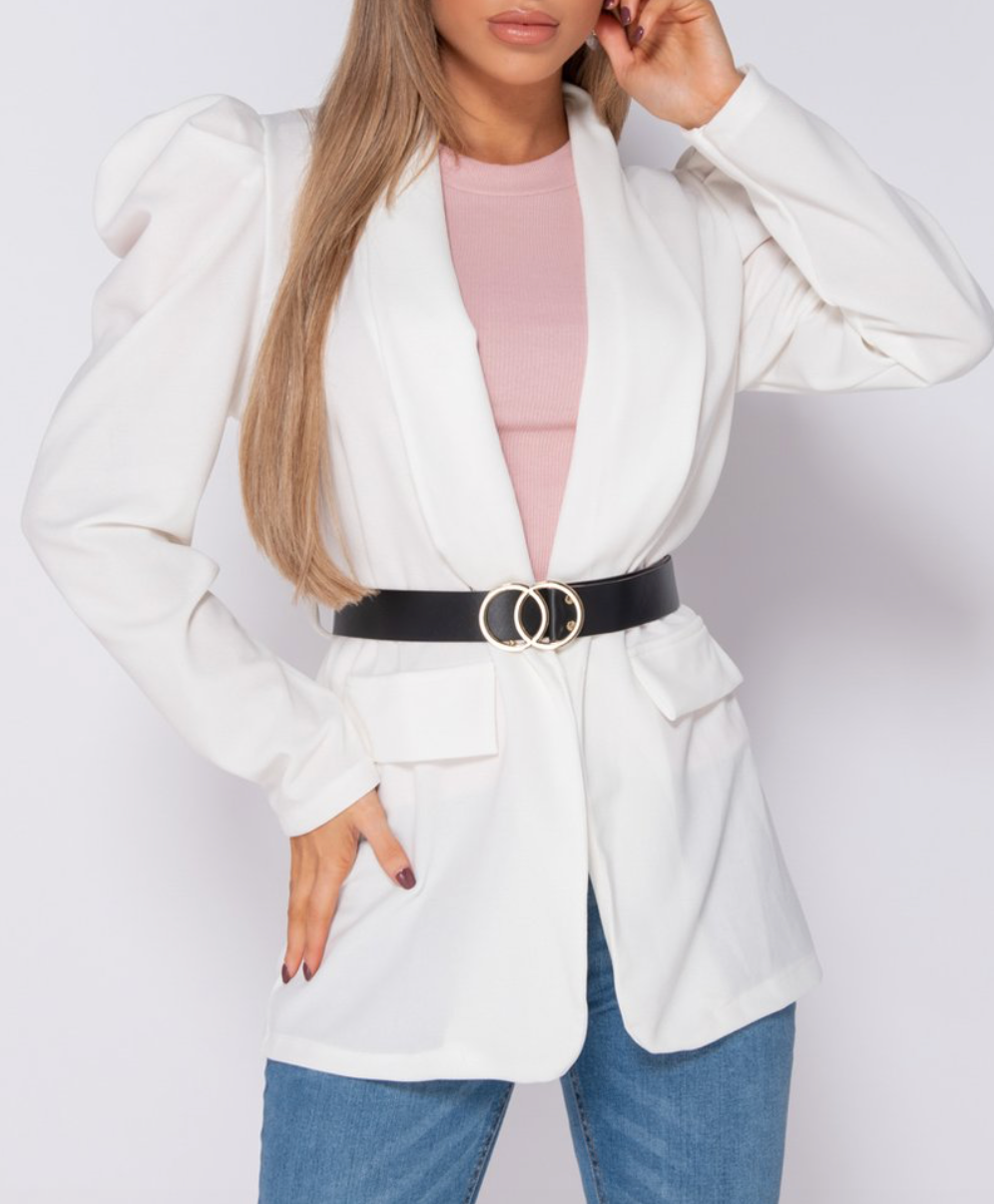 White Puffed Sleeve Buckle Belt Blazer
