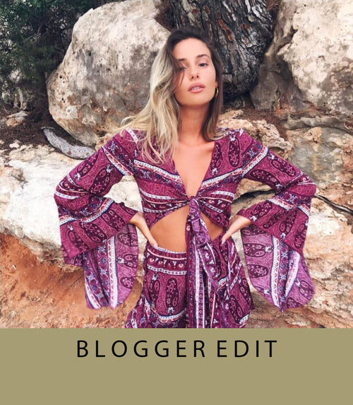 Get the look of Blogger Tia Lineker with our purple playsuit, flared sleeves, front tie detail, fluted sleeves