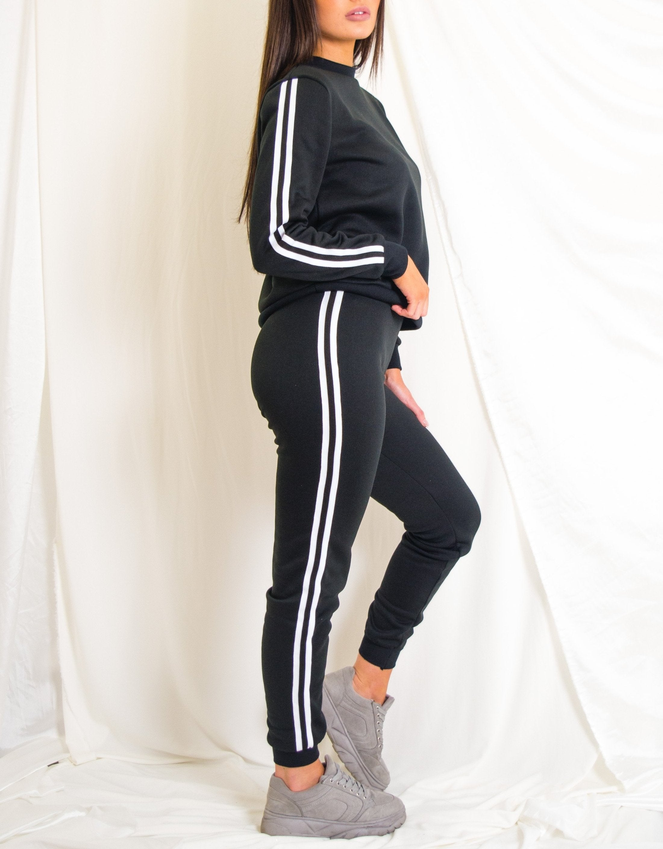 Black Tracksuit With White Striping
