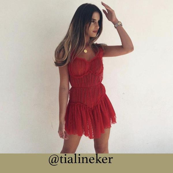 PRE ORDER - Red Lace Playsuit With Frilled Hem