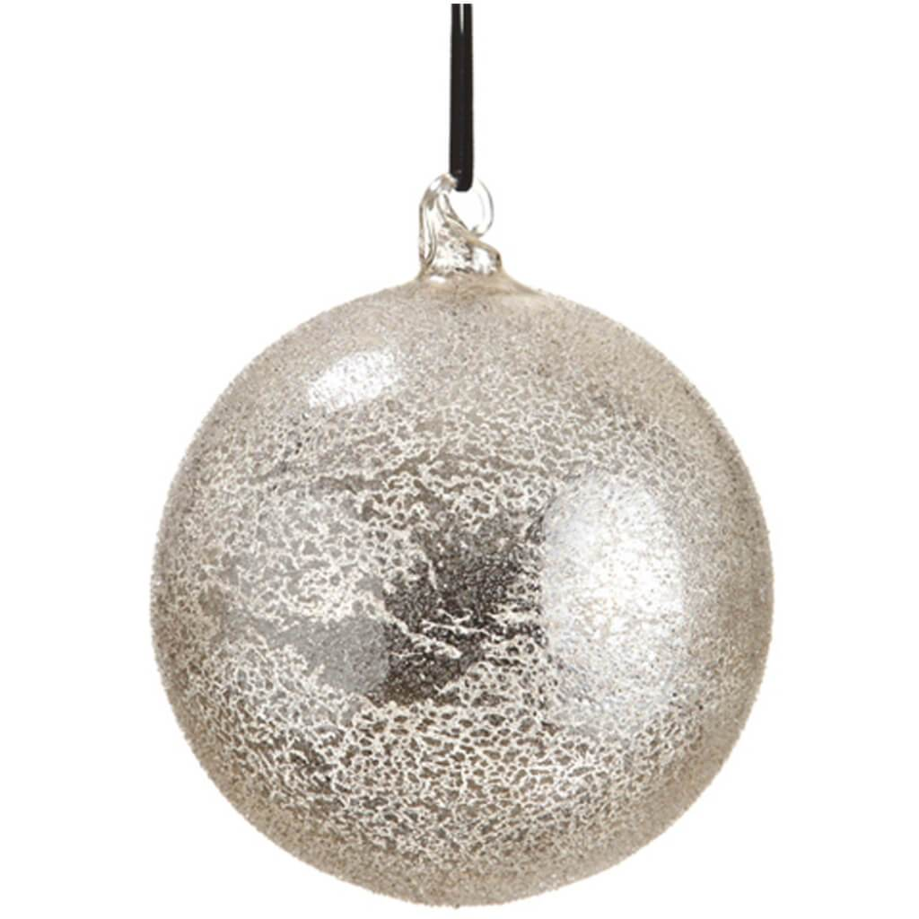 Beaded Mercury Glass Ball Ornament
