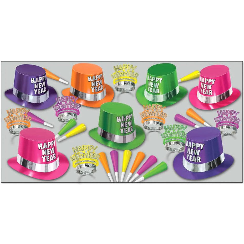 New Year Party Kit Fluorescent Assorted for 50