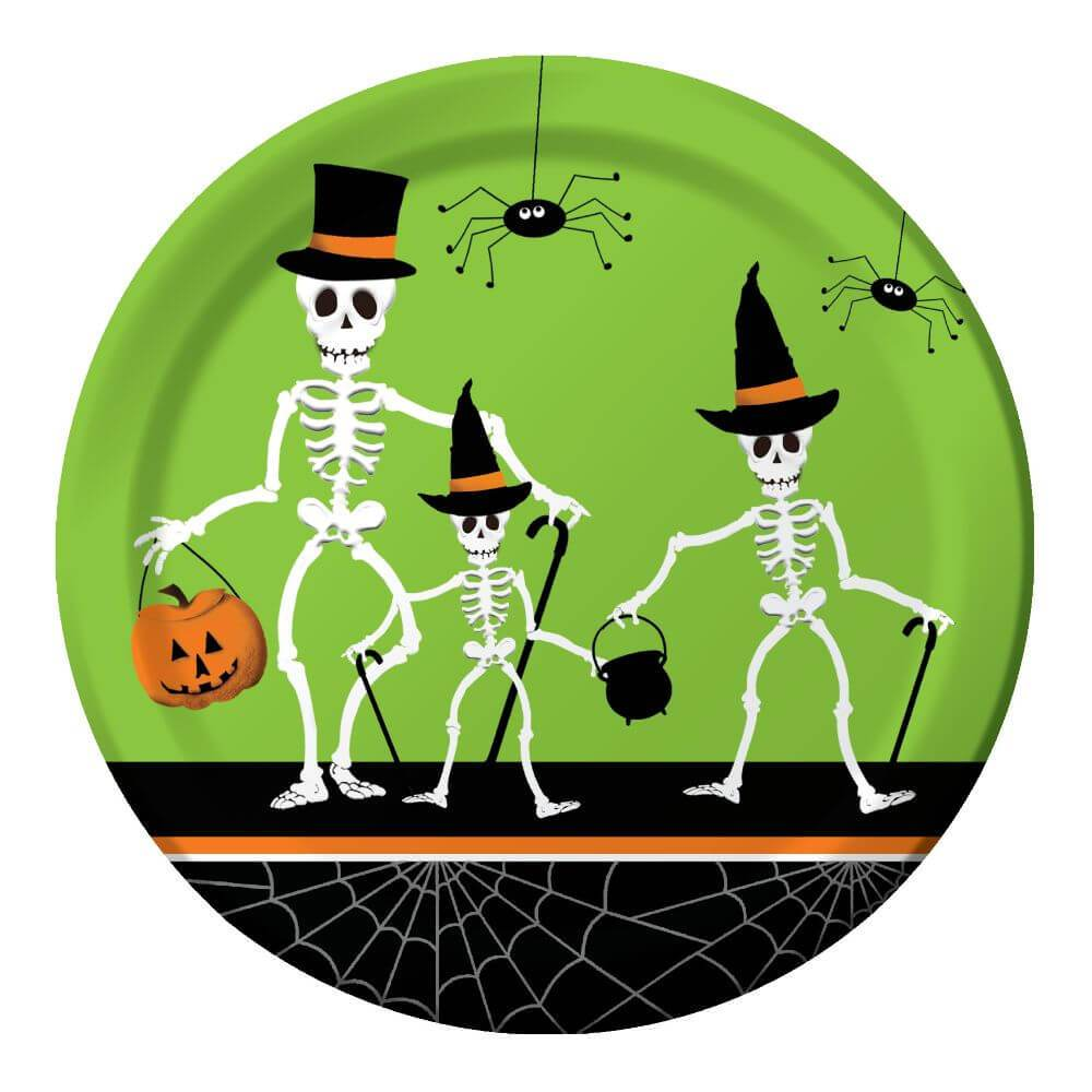 Dancing Skeletons, Dinner Plates 9in 8ct