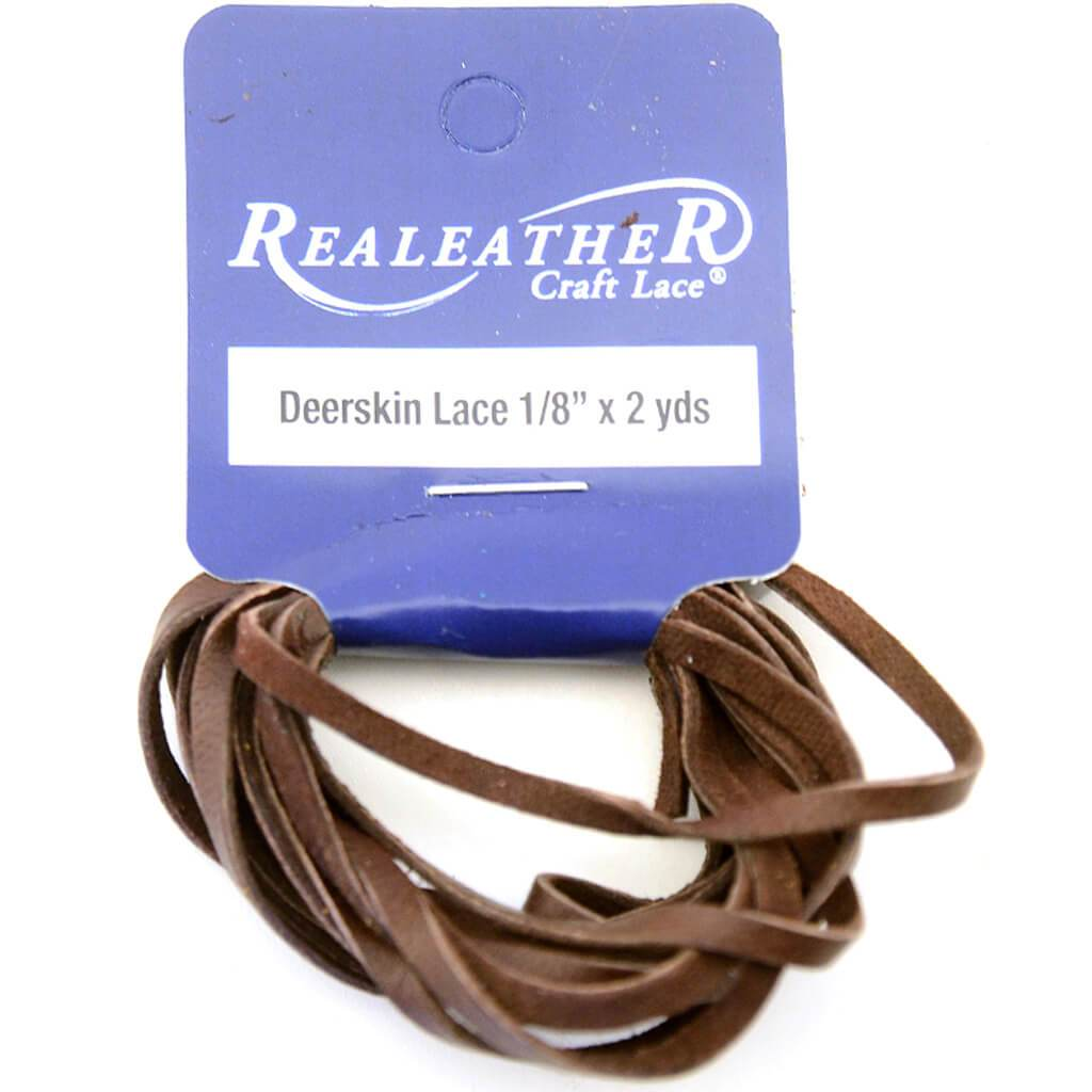 Realeather Crafts Deerskin Lace .125in x 2yd Packaged Chocolate