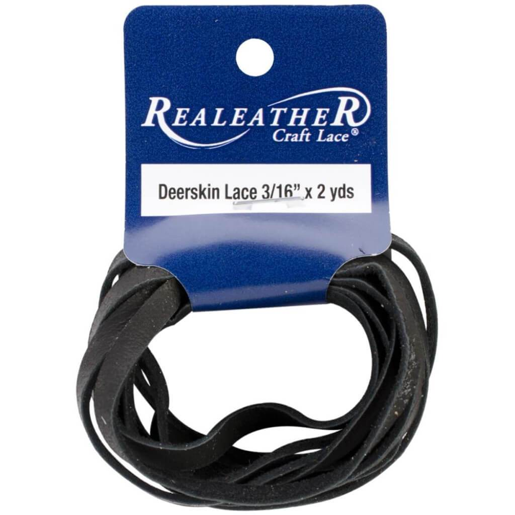 Realeather Crafts Deerskin Lace .1875in x 2yd Packaged Black