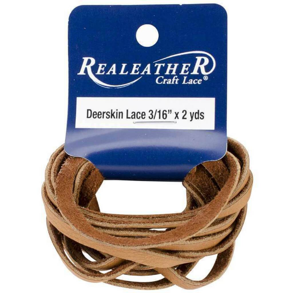Realeather Crafts Deerskin Lace .1875in x 2yd Packaged Saddle Tan