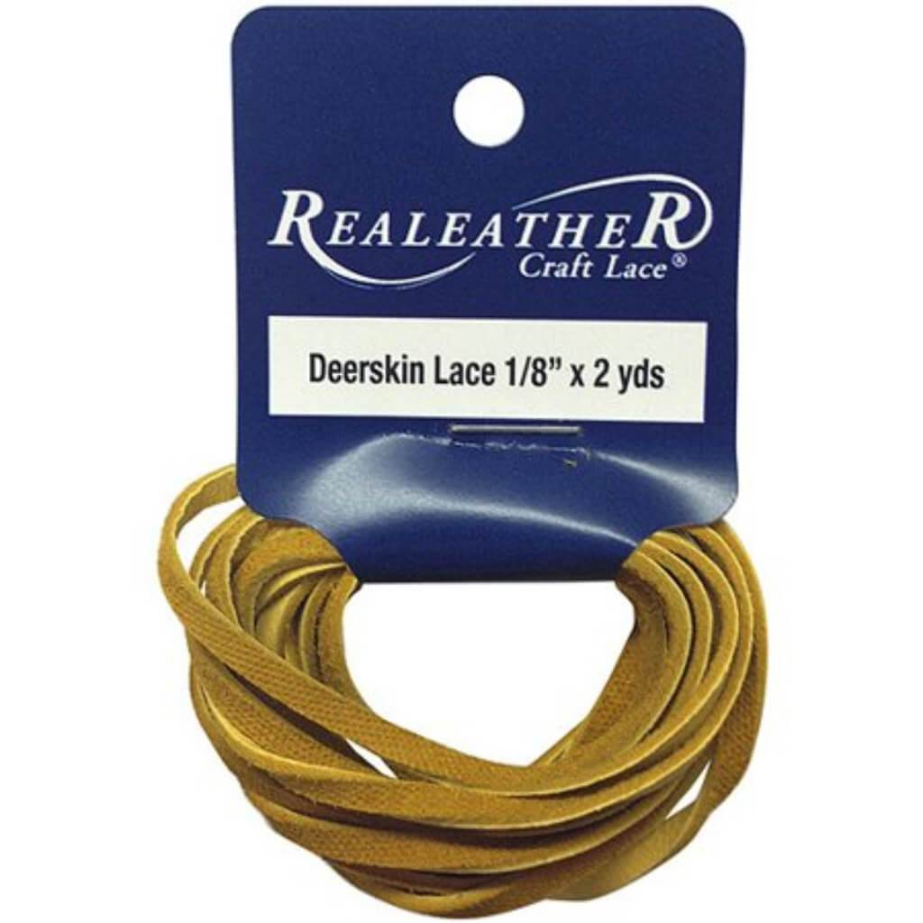 Realeather Crafts Deerskin Lace .125in x 2yd Packaged Gold