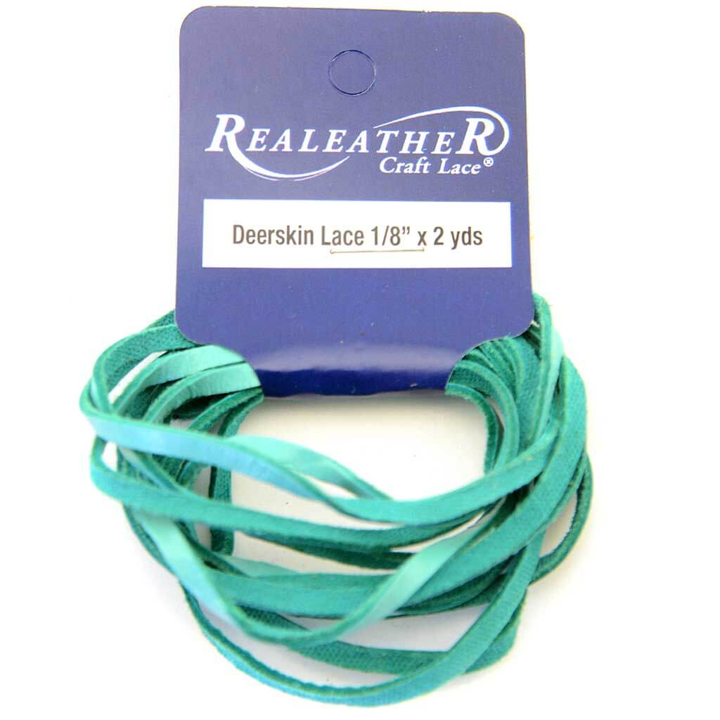 Realeather Crafts Deerskin Lace .125in x 2yd Packaged Turquoise