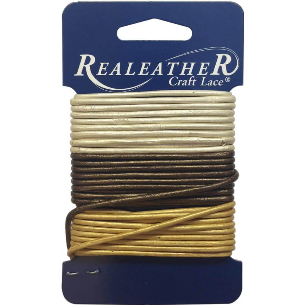 Realeather Crafts Round Leather Lace 2mm x 9yd Carded Gold, Silver & Bronze