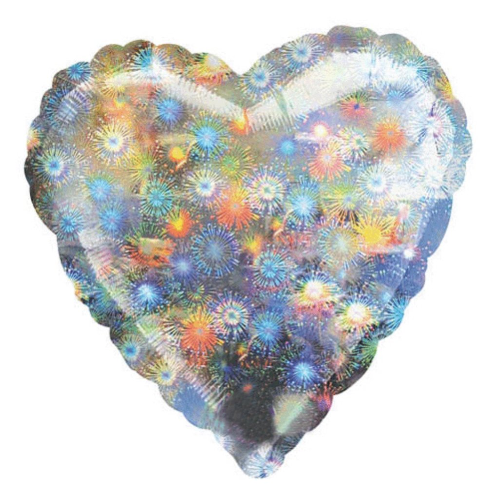 Holographic Heart Foil Balloon 18in