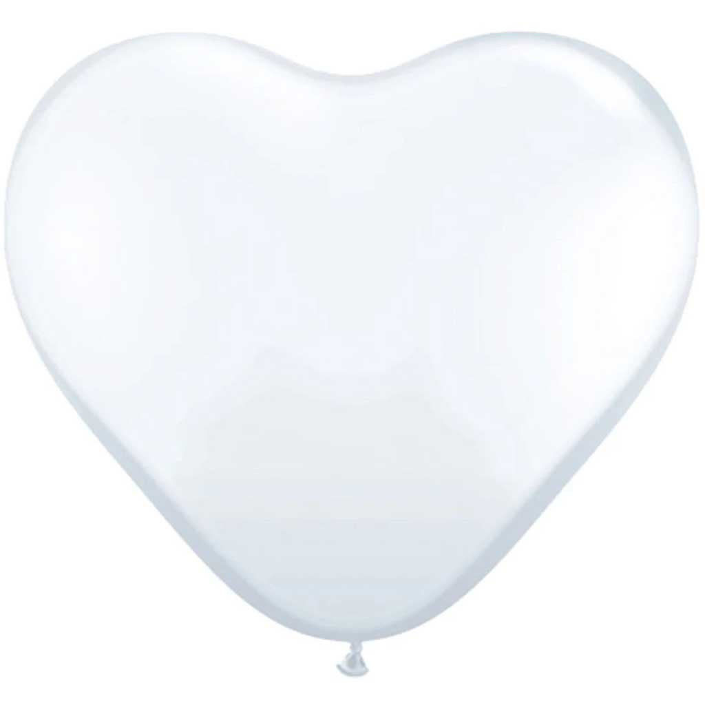 Latex Balloon Heart White 11in