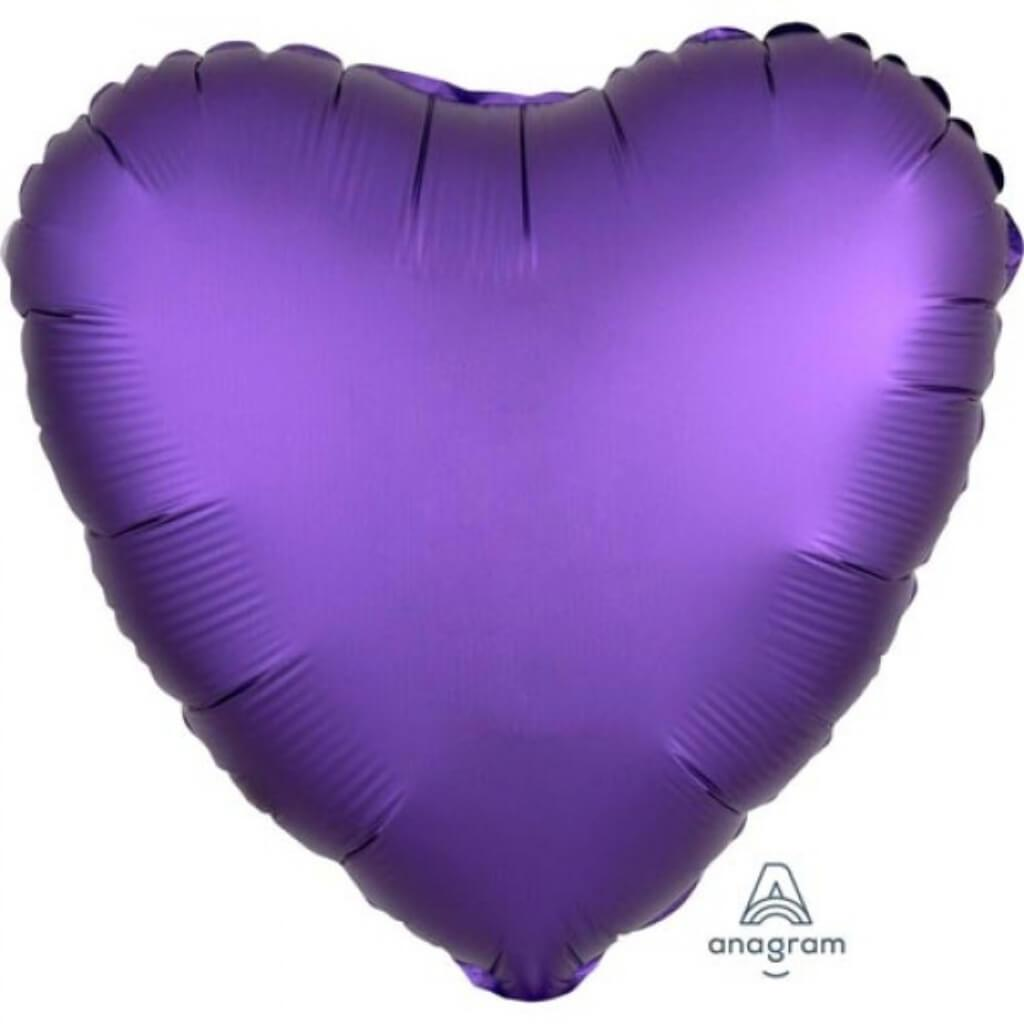 Foil Balloon Heart Purple 18in