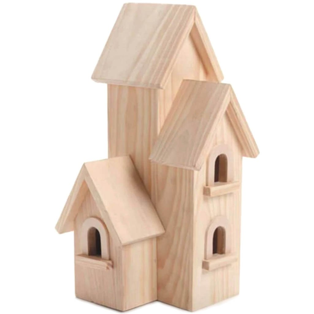 Wood Birdhouse Natural Manhattan 12 inches
